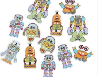 Set of 5 robot wooden buttons