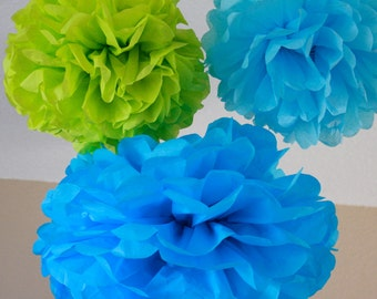 Tissue Paper Pom Poms - 10 Tissue Poms - Your Color Choice- SALE - Buzz Light year Party - blue and lime party decorations