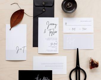 Printable Wedding Invitation Set   Wedding Invitation + RSVP   Modern, minimalist, black, white, gray, neutral, calligraphy   Minimalist