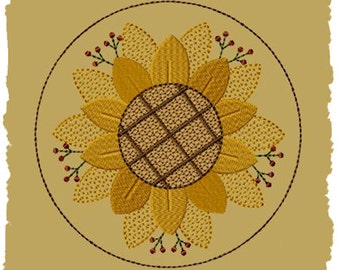 Primitive Machine Embroidery Design-Sunflower Candle Mat-4 Inch-INSTANT DOWNLOAD