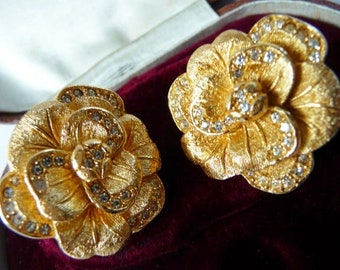 vintage Christian Dior faux gold camellia clip earrings | Swarovski rhinestones | 1980s 1990s | authentic DIOR | formal bridal prom vintage
