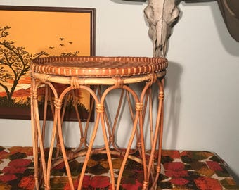 Vintage 1970s Wicker Rattan Bamboo Plant Stand or End Table