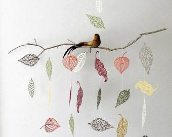 Leaf Mobile - Nursery Mobile, Branch Mobile, Bird Mobile, Nature Mobile, Hanging Mobile, Woodland Mobile, Baby Mobile, Mothers Day Gift