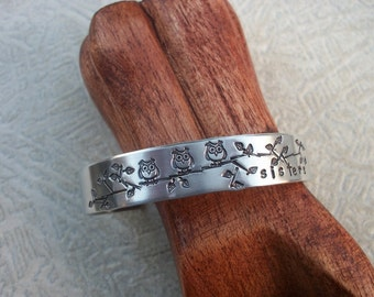Sisters Three Aluminum Cuff Bracelet - Little Owls On A Branch - Friends, Sisters, Besties, Mom & Daughters - Hand Stamped 1/2 Inch Cuff