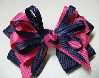 Navy Blue Hair Bow Hot Pink Boutique