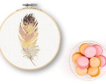 Watercolor Feather Cross Stitch Chart Downloadable Folk Bird Chart Native Office Art Hip Desk Art Color Combination Modern Cross Stitch