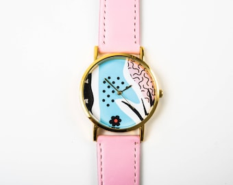 Women's Watch - Wrist Watch - Unique Watch - Boyfriend Watch - Gift For Her - Pink Watch