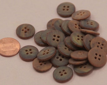 """Lot of 24 Matte Brown Plastic Buttons 5/8"""" 16mm # 6581"""