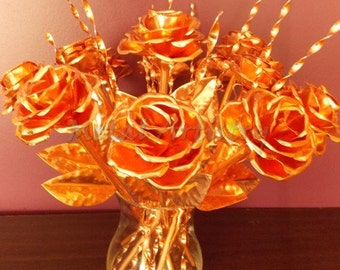 Dozen of handcrafted copper rose, perfect gift for a wedding or anniversary life size metal art, sculpture