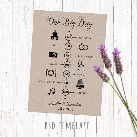 Timeline Vorlage Hochzeitskarte. Digital bedruckbare