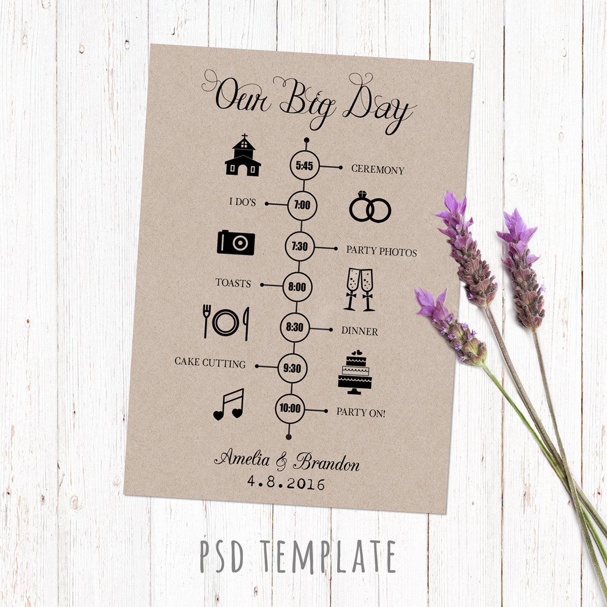 Wedding timeline template card digital printable timeline zoom junglespirit Images