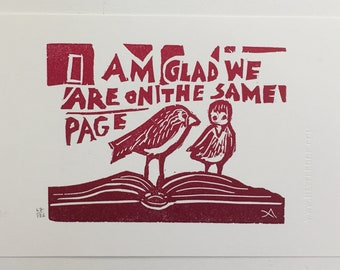 I Am Glad Linocut Cards