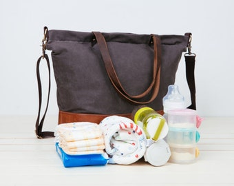 Mother's Day Gift!!BIG SALE!!Waterproof Gray,Unisex Daddy waxed canvas Diaper Bag,6 pockets Nappy Bag,Canvas Leather Tote,leather diaper bag
