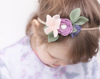 Felt Flower Crown Headband, Butterfly Headband, Baby Headband, Newborn Photo Props, Baby Shower Gift, Flower Crown