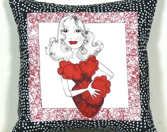 Boudoir Pillow, Bedroom Pillow, Lady in Red Pillow, Mantel Decor, Boudoir Accent, Lounge Pillow, Funky Pillow, Mini Pillow, Boudoir Cushion