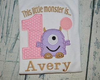 Monogrammed This Little Monster is One Girls Shirt, Monogrammed Monster First Birthday, 1st Birthday Monster Shirt