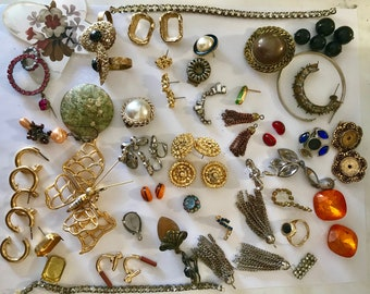 Vintage Bag Lot of Jewelry, Pin, Earrings, Necklaces, Bulk Jewelry, Re-cycle Jewelry, Up-Cycle Jewelry, Bits & Pieces, jewelry, supplies #1