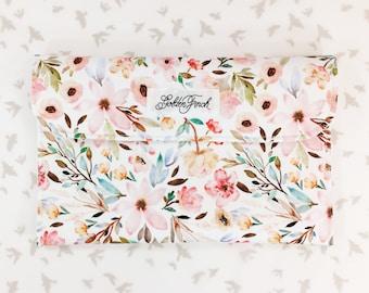 Diaper Clutch - The Marisa, Wildflower Floral Diaper Bag, Flower Clutch, Diaper Clutch with Pockets,Diaper Holder,Diaper Wallet,Diaper Pouch