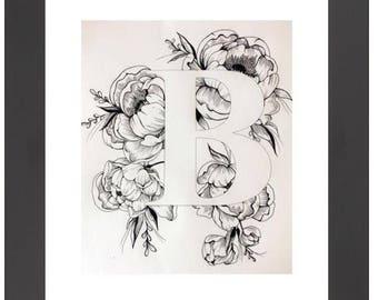 Illustrated 'B' initial print