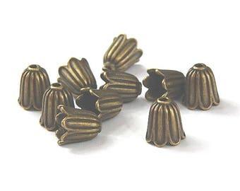 10 bead caps cones color flower shape bronze 10mm