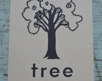 Vintage Flash Card Phonics Large Picture - Tree