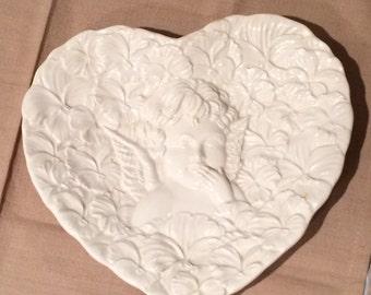 Heart Shaped Cherub Angel Plate 1995 Handmade in Italy #7597