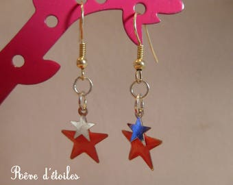 Pink and silver stars earrings