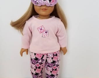 American Girl Doll Pajamas with or without sleep mask. Heart stamps