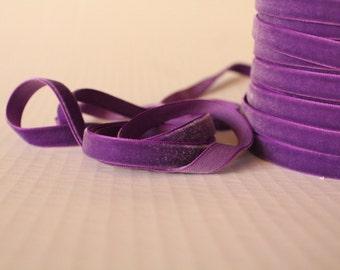 3/8 inch Purple Ribbon / Purple Velveteen /   VRYM38-465 Purple