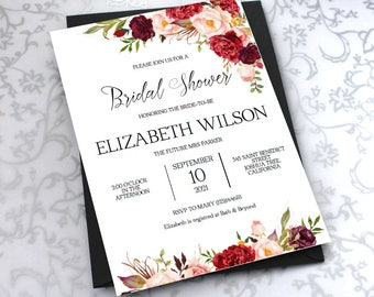 Bridal Shower Invitation, Bridal Shower Invite, Rustic Wedding, Wedding Shower Invitations, Wedding Printable,PDF Instant Download| VRD137BS