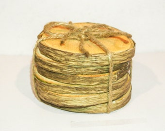 6 Rustic Wood Coasters, 6 Rustic Coasters, Repurposed Wood Coasters, 6 Rustic with Bark Coasters, Plain Rustic Wood Coasters
