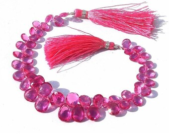 Full 8 Inches -- Outrageous AAA Rubelite Pink Quartz Faceted Pear Briolettes Size - 7x5 - 12x8mm approx