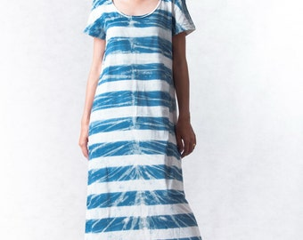 NO.109 Light Blue and Off White Cotton Jersey Tie-Dye Striped Shirt Dress