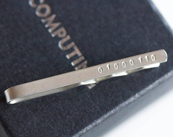 Silver Tie slide with Binary initial, personalized Tie bar, sterling silver tie clip, computer science gift, gift for husband