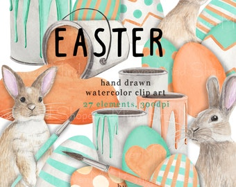 Easter clip art kit watercolor easter digital hand painted clipart mint green coral easter eggs paint brush cans spilled paint rabbit set