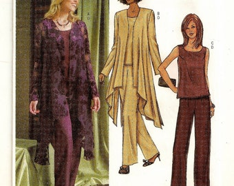 """A Side Hi-Lo Long Sleeve Jacket, Sleeveless Top and Straight Leg Pants Pattern for Women: Sizes 8-10-12, Bust 31-1/2"""" - 34"""" ~ Butterick 4022"""