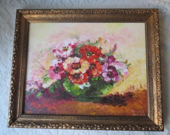 """Vintage Original Oil Painting Textured Floral Flower Still Life Yellow Pinks Yellows Oranges Greens Artist Signed 11 x 14"""" Framed"""