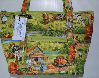 Quilted Fabric Handbag Purse with a Beautiful Farm Scene