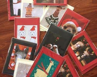Alpaca Hand Made Christmas Greeting Cards - Set of 6