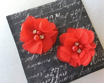 Red Baby girl Hair Clips, flower hair clips, baby hair clips, red, hair clips, flower, small flower hair clip, red hair clips
