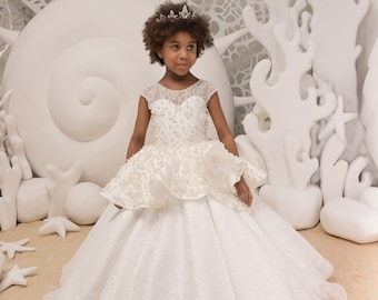 Lace Ivory Flower Girl Dress - Birthday Bridesmaid Wedding Party Holiday Ivory Lace Tulle Flower Girl Dress 21-090