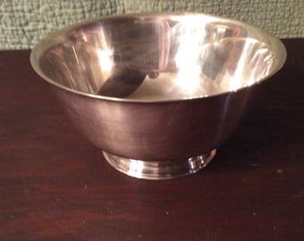 Vintage Medium Silver Plate Paul Revere Reproduction Bowl