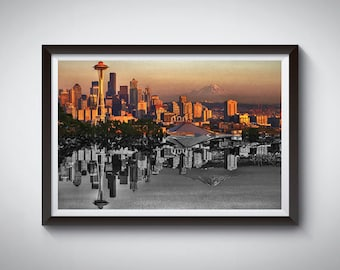 Seattle Art Poster Print, Seattle Space Needle Skyline Poster 3
