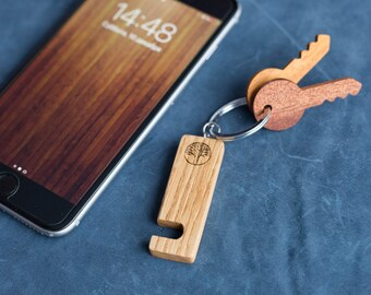 Oak Wood smartphone stand keychain. Real wood. Any engraving 2 sides. Keyring  Stand for iPhone, Samsung and other. Best gift.