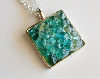 Blue Sea Glass Necklace, Turquoise Sea Glass Pendant