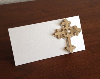 Gold and Ivory Baptism Christening Cross Place Cards- Food Tent Labels