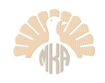 Turkey Embroidery Design Monogram Frame Machine Embroidery Thanksgiving  BX Instant download 4x4 5x7 6x10