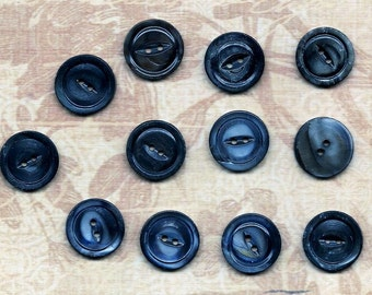 "A Dozen Vintage 3/4"" Black Mussell Shell Buttons"