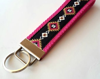 Pink Aztec KEY FOB Wristlet- Wrist Keychain for Her- Tribal Keychain for Women- Pink Wristlet Key Chain- Gift for Her- Womens Gift Under 10
