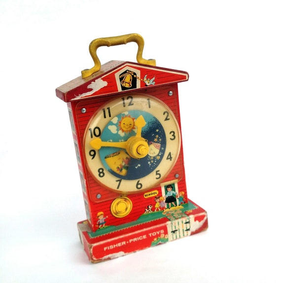 Vintage 1960's Fisher Price Music Box Teaching Clock